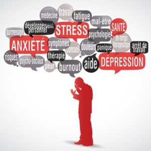 nuage de mots bulles silhouette : Stress